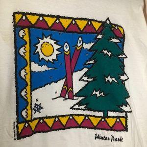 Shirts - Vtg 80s Colorado Winter Park mountains white shirt